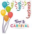 streamer balloons carnival festival design vector image