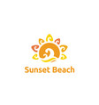 summer sun ocean sea wave island beach logo vector image