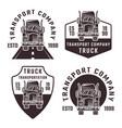 truck set four black vintage emblems vector image