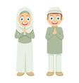 two little muslim kids greetings ramadan kareem vector image vector image
