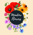 vintage card with meadow flowers vector image vector image