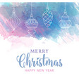 watercolor christmas card with baubles vector image