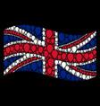 waving united kingdom flag mosaic of celebration vector image