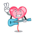 with guitar ballon heart mascot cartoon vector image