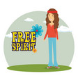 woman hippie lifestyle characters vector image vector image