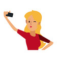 Young woman cartoon taking selfie