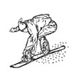 active man snowboarder riding on slope vector image