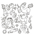 Magic set of unicorns wings and potions vector image