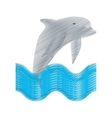 hand drawing dolphin ocean fish friendly wave vector image