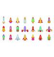 rocket icon set cartoon style vector image