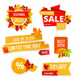 badges autumn sales various stickers or labels vector image vector image