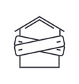 bankruptcyboarded-up house line icon sign vector image vector image