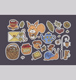 big autumn icon set cozy fall hand drawn vector image vector image