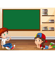 Boy and girl learning in classroom vector image vector image