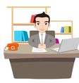 Businessman Working At Office with laptop vector image vector image