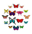 Butterfly collection icons set cartoon style