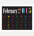 Calendar February 2015 vector image vector image