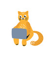 cartoon cat sitting with laptop at knees vector image