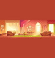 cartoon home interior bright hall and living room vector image vector image