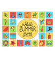 collection summer icons set outline holiday vector image vector image