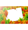 colorful autumn leaves with blank paper card vector image vector image