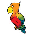 colorful parrot cartoon on white background vector image