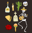 colorful symbols for dia de los muertos day of the vector image vector image