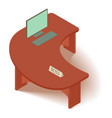 computer table icon isometric 3d style vector image