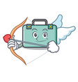 cupid suitcase character cartoon style vector image