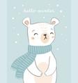 cute hand drawn polar bear card design with text vector image