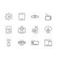 digital tech circuit board icons set line vector image
