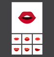 flat icon lips set of teeth smile lipstick and vector image vector image