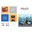 flat police infographic concept vector image vector image