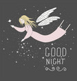 flying fairy in night sky vector image