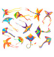 flying paper kites decorated color ribbons vector image vector image