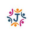 friendship teamwork parenting letter j vector image vector image
