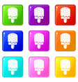 glaze ice cream icons set 9 color collection vector image vector image