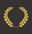 golden laurel wreath on a dark background vector image