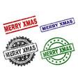 grunge textured merry xmas stamp seals vector image