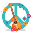 guitar with flowers hippie culture vector image