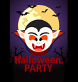 halloween party banner with dracula vector image
