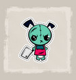 halloween stitch dog zombie puppy voodoo doll vector image
