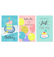 happy birthday greeting cards and party invitation vector image vector image