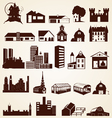 Houses buildings silhouettes set vector image