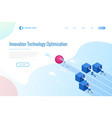 isometric robot pushing cubes robot easily moving vector image vector image