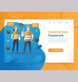 landing page template project and construction vector image