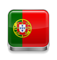 Metal icon of Portugal vector image vector image