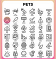 pets concept detailed line icons vector image