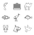 professional veterinarian icons set outline style vector image vector image
