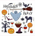 rgbset of hand drawn elements for halloween party vector image vector image